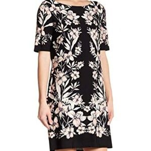 New Eliza J black floral shift dress size 6